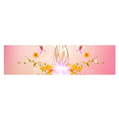 Wonderful Flowers With Butterflies And Diamond In Soft Pink Colors Satin Scarf (oblong)