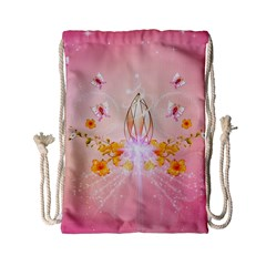 Wonderful Flowers With Butterflies And Diamond In Soft Pink Colors Drawstring Bag (Small)