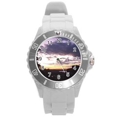 Sunset Over The Valley Round Plastic Sport Watch (L)