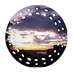 Sunset Over The Valley Round Filigree Ornament (2side)