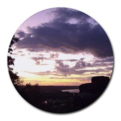 Sunset Over The Valley Round Mousepads
