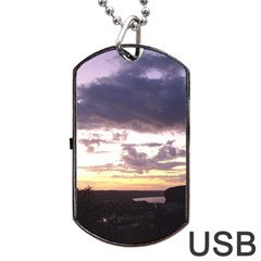 Sunset Over The Valley Dog Tag Usb Flash (one Side)