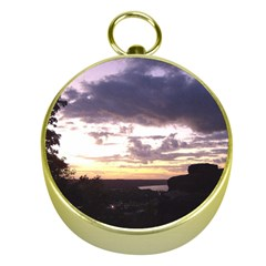 Sunset Over The Valley Gold Compasses