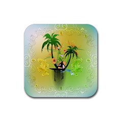 Surfing, Surfboarder With Palm And Flowers And Decorative Floral Elements Rubber Coaster (Square)