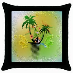 Surfing, Surfboarder With Palm And Flowers And Decorative Floral Elements Throw Pillow Cases (Black)