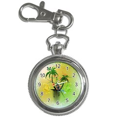 Surfing, Surfboarder With Palm And Flowers And Decorative Floral Elements Key Chain Watches