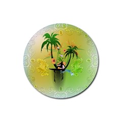 Surfing, Surfboarder With Palm And Flowers And Decorative Floral Elements Rubber Round Coaster (4 Pack)