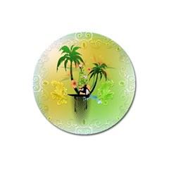 Surfing, Surfboarder With Palm And Flowers And Decorative Floral Elements Magnet 3  (Round)