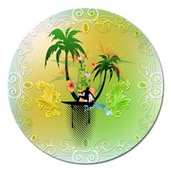 Surfing, Surfboarder With Palm And Flowers And Decorative Floral Elements Magnet 5  (Round)