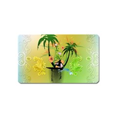 Surfing, Surfboarder With Palm And Flowers And Decorative Floral Elements Magnet (Name Card)