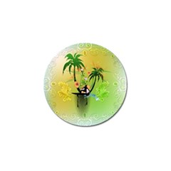 Surfing, Surfboarder With Palm And Flowers And Decorative Floral Elements Golf Ball Marker