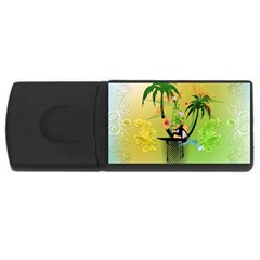Surfing, Surfboarder With Palm And Flowers And Decorative Floral Elements USB Flash Drive Rectangular (2 GB)