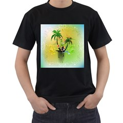 Surfing, Surfboarder With Palm And Flowers And Decorative Floral Elements Men s T-Shirt (Black) (Two Sided)