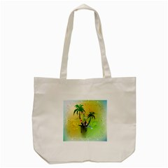 Surfing, Surfboarder With Palm And Flowers And Decorative Floral Elements Tote Bag (Cream)