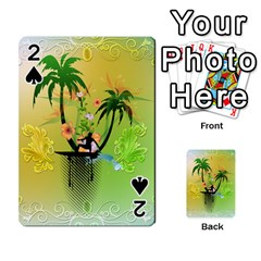 Surfing, Surfboarder With Palm And Flowers And Decorative Floral Elements Playing Cards 54 Designs