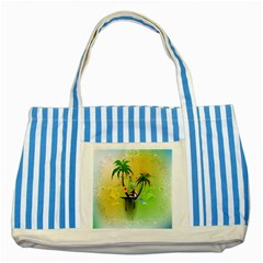 Surfing, Surfboarder With Palm And Flowers And Decorative Floral Elements Striped Blue Tote Bag