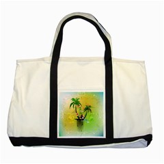 Surfing, Surfboarder With Palm And Flowers And Decorative Floral Elements Two Tone Tote Bag