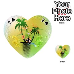 Surfing, Surfboarder With Palm And Flowers And Decorative Floral Elements Playing Cards 54 (Heart)