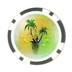 Surfing, Surfboarder With Palm And Flowers And Decorative Floral Elements Poker Chip Card Guards