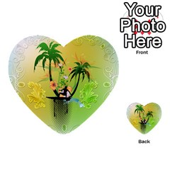 Surfing, Surfboarder With Palm And Flowers And Decorative Floral Elements Multi-purpose Cards (Heart)