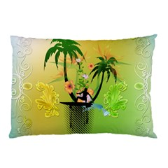 Surfing, Surfboarder With Palm And Flowers And Decorative Floral Elements Pillow Cases