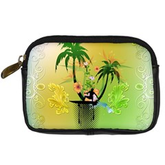 Surfing, Surfboarder With Palm And Flowers And Decorative Floral Elements Digital Camera Cases