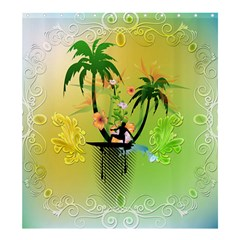 Surfing, Surfboarder With Palm And Flowers And Decorative Floral Elements Shower Curtain 66  X 72  (large)