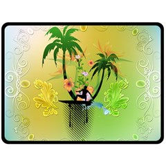 Surfing, Surfboarder With Palm And Flowers And Decorative Floral Elements Fleece Blanket (large)