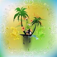 Surfing, Surfboarder With Palm And Flowers And Decorative Floral Elements Magic Photo Cubes