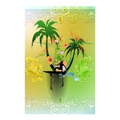 Surfing, Surfboarder With Palm And Flowers And Decorative Floral Elements Shower Curtain 48  x 72  (Small)