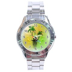 Surfing, Surfboarder With Palm And Flowers And Decorative Floral Elements Stainless Steel Men s Watch