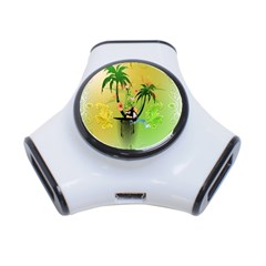 Surfing, Surfboarder With Palm And Flowers And Decorative Floral Elements 3-Port USB Hub