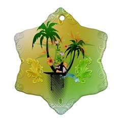 Surfing, Surfboarder With Palm And Flowers And Decorative Floral Elements Snowflake Ornament (2 Side)