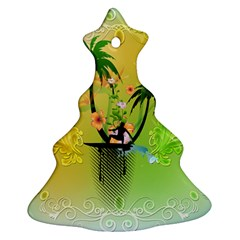 Surfing, Surfboarder With Palm And Flowers And Decorative Floral Elements Christmas Tree Ornament (2 Sides)