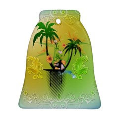 Surfing, Surfboarder With Palm And Flowers And Decorative Floral Elements Bell Ornament (2 Sides)
