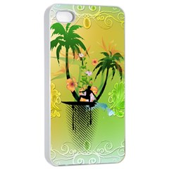 Surfing, Surfboarder With Palm And Flowers And Decorative Floral Elements Apple iPhone 4/4s Seamless Case (White)
