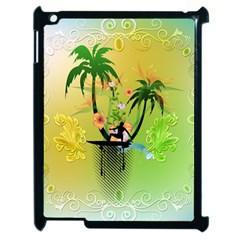Surfing, Surfboarder With Palm And Flowers And Decorative Floral Elements Apple iPad 2 Case (Black)