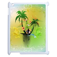 Surfing, Surfboarder With Palm And Flowers And Decorative Floral Elements Apple iPad 2 Case (White)