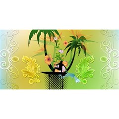 Surfing, Surfboarder With Palm And Flowers And Decorative Floral Elements YOU ARE INVITED 3D Greeting Card (8x4)