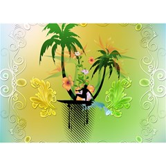 Surfing, Surfboarder With Palm And Flowers And Decorative Floral Elements Birthday Cake 3D Greeting Card (7x5)