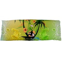 Surfing, Surfboarder With Palm And Flowers And Decorative Floral Elements Body Pillow Cases Dakimakura (Two Sides)