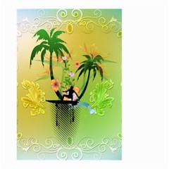 Surfing, Surfboarder With Palm And Flowers And Decorative Floral Elements Small Garden Flag (two Sides)