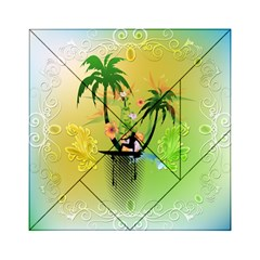 Surfing, Surfboarder With Palm And Flowers And Decorative Floral Elements Acrylic Tangram Puzzle (6  x 6 )