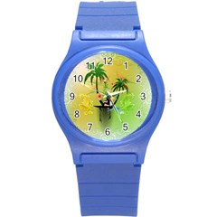 Surfing, Surfboarder With Palm And Flowers And Decorative Floral Elements Round Plastic Sport Watch (S)