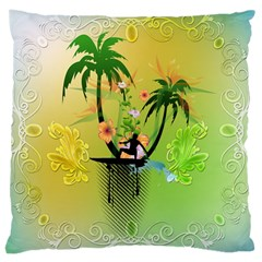 Surfing, Surfboarder With Palm And Flowers And Decorative Floral Elements Large Cushion Cases (Two Sides)