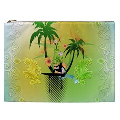 Surfing, Surfboarder With Palm And Flowers And Decorative Floral Elements Cosmetic Bag (XXL)