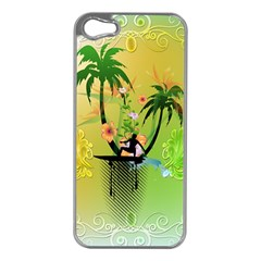 Surfing, Surfboarder With Palm And Flowers And Decorative Floral Elements Apple iPhone 5 Case (Silver)
