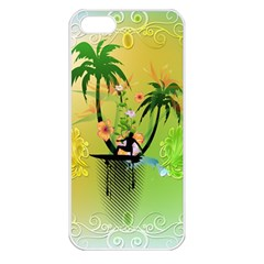 Surfing, Surfboarder With Palm And Flowers And Decorative Floral Elements Apple iPhone 5 Seamless Case (White)
