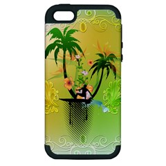 Surfing, Surfboarder With Palm And Flowers And Decorative Floral Elements Apple iPhone 5 Hardshell Case (PC+Silicone)