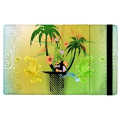 Surfing, Surfboarder With Palm And Flowers And Decorative Floral Elements Apple iPad 2 Flip Case